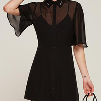 Black Embroidered Collar Button Front Sheer Chiffon Dress