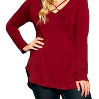 Curvy Long Sleeve Criss Cross Top, Burgundy