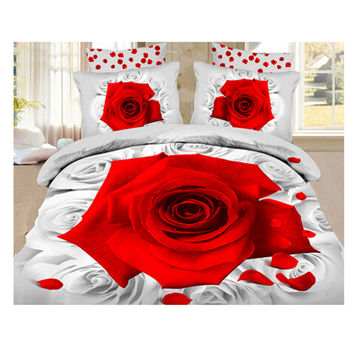 3D Queen King Size Bed Quilt/Duvet Sheet Cover Cotton reactive printing 4pcs 1.5M bed 25