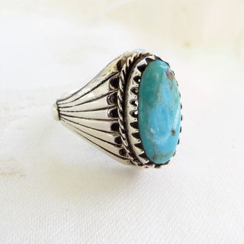 Navajo Turquoise Ring Sterling Mens Size 14