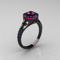 Modern Antique 14K Black Gold Pink Sapphire Aquamarine Wedding Ring, Engagement Ring R191-14KBGAQPS