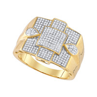 Diamond Micro Pave Mens Ring in 10k Gold 0.49 ctw