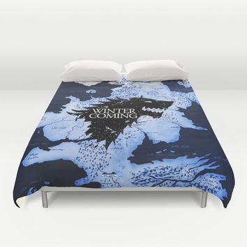Game Of Thrones Stark Winter Is Coming Duvet Cover by Neutrone