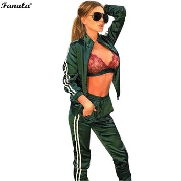 FANALA Autumn Womens Long Sleeve Stand Neck Tracksuit 2 pieces Suit Set Sporting Striped Patchwork Sweatpants and Bomber Jacket