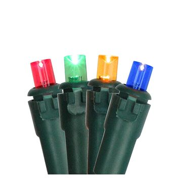Set of 100 Multi Colored LED Wide Angle Christmas Lights  on Green Wire