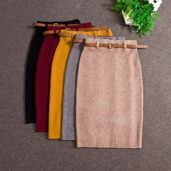 CREYET7 2017 Fashion Skirts Autumn winter Casual Women High Waist Knee-length Knitted Pencil Skirt Elegant slim Long Skirts