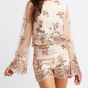Sequin Embroidered Mesh Top | Charlotte Russe