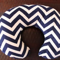 boppy cover, nursing pillow cover with zipper,  navy chevron all minky boppy cover