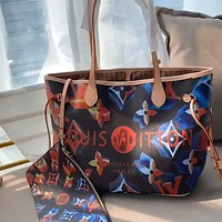 LV NEONOE 2020 New Color-block Alphabet Printing Women Shopping Bag Mother Pack Two-piece Set