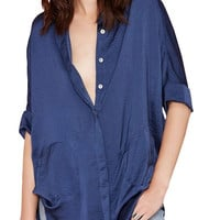 Navy Blue Silk Roll-up Double Pocket Dovetail Blouse