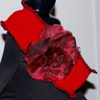 Wide Red Sweater Headband with full red flower accent SOLD