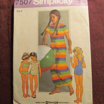 Sale Uncut 1970's Simplicity Sewing Pattern, 7507! Size 8 Girls/Stretch Knits/Swimsuits/Bikini or One Piece/Cover-Up/Bathing Suits/Long Shir