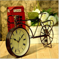 Stylish Vintage Home Decor Iron Bicyclex Decoration Strong Character Clock [6282680326]
