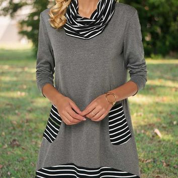 New Grey Striped Pockets High Neck Long Sleeve Casual Countryside Mini Dress