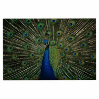 "Angie Turner ""Proud Peacock"" Blue Animals Decorative Door Mat"