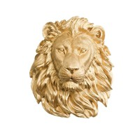 The Saharan | Large Lion Head | Faux Taxidermy | Gold Resin