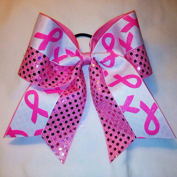 Breast Cancer Awareness Bow 1/2 sequin, 1/2 ribbon design
