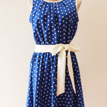 Ready to Ship - Polka Dots Party - Royal Blue Summer Dress, Vintage Nautical Rockabilly Dress, Dot Dress, Swing Dancing Skirt, S,M,L,XL