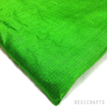 Indian Silk Fabric - Pure Silk Dupioni - Raw Mulberry Silk - Emerald Green Raw Silk - Indian Dupioni Silk -Dupioni Silk