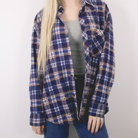 Vintage Navy Plaid Grunge Flannel