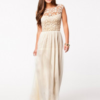 White Lace Embroidered Sleeveless Shirtwaist Backless Chiffon Maxi Dress
