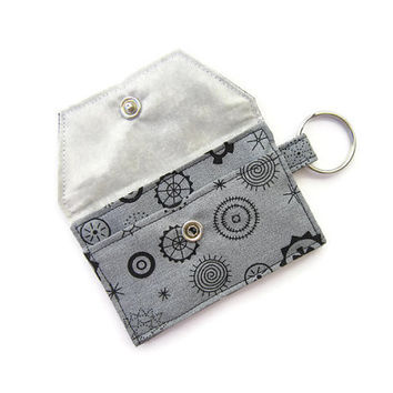 Mini key chain wallet/ simple ID Key chain pouch / keychain coin purse / Business card holder / Gray abstract gears pattern