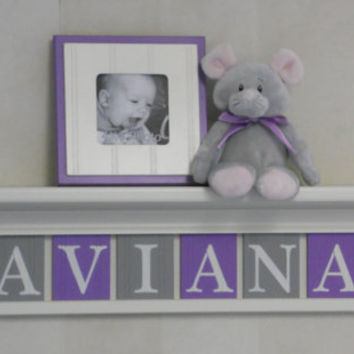 "Nursery Name Letters, Baby Girl Nursery Name Decor Personalized 30"" Linen White Shelf with 8 Purple Gray Name Blocks - AVIANA with Flowers"