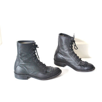 size 7.5 BILTRITE roper boots / vintage 70s BOHO southwestern black leather fringe MILITARY goth pointy toe lace up hipster riding boots