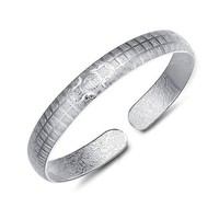 MLOVES Women's Chinese Style Silver 福 Decorative Pattern Cuff Bracelet