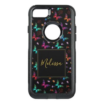 Elegant Colorful Butterflies on Black OtterBox Commuter iPhone 8/7 Case
