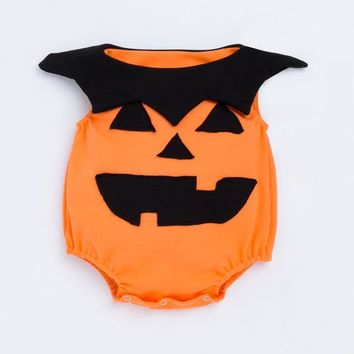 YK&Loving Baby Pumpkin Shape Romper Cosplay Clothes New Arrival Halloween Party Costume Girl Boy Yellow Pumpkin Makeup Clothes