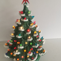 Vintage Ceramic Christmas Tree Snow Flocked Branches and Miniature Ornaments that Light UP Holiday Decor