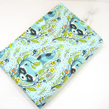 Diaper Changing Mat, Blue Changing Pad, Diaper Bag Accessory, Raccoon Print