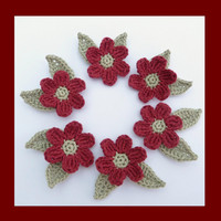 6 medium crochet  flowers and 12  leaves, appliques and embellishments