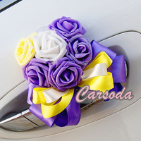 Wedding Car Decoration- Heart Shape Roses Ribbon for Limousine Door Side