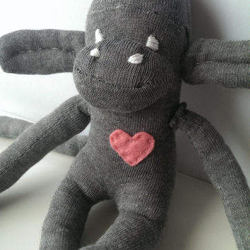 Roger the sock monkey. Grey with pink heart sock monkey toy. Long legs and arms sock monkey. Baby safe (code: SOCMG01 )