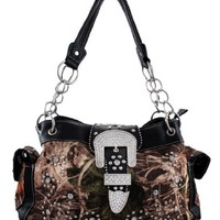 Camouflage Studded Rhinestone Buckle Purse