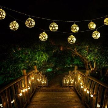 DCCKWQA Outdoor Solar LED Moroccan String Light 30 LED Xmas Waterproof Warm White String Lights Party Festival Decoration Lighting