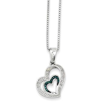 Blue & White Diamond Asymmetrical Heart Necklace in Sterling Silver