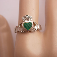 Vintage Green Malachite Claddagh Ring Sterling Silver Irish Magical Wedding Engagement Promise