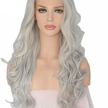 Clara- Hand Tied Grey White Silver Color Heat Resistant Hair Wavy Synthetic Lace Front Wigs