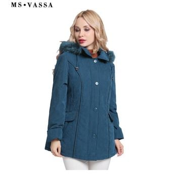 Trendy MS VASSA Jacket Women 2017 New Winter Coats Plus size 5XL 6XL detachable hood with fake fur turn-down collar ladies outerwear AT_94_13