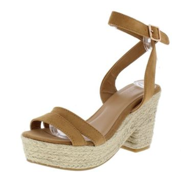 Tan Open Toe Ankle Strap Espadrille Wedge