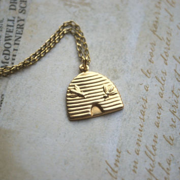 Bee Hive Necklace -- Gold Bee Necklace, Honey Comb Necklace
