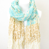 Leopard Print Crinkle Scarf Turquoise Beige & Ivory BOHO Lightweight Full Simple and Chic An Absolute Must for Fall