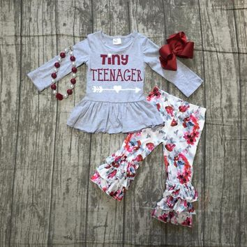 baby Girls Fall clothes girls children tiny teenage print top with wine red pants outfits kids grey top arrow with accessories