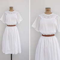 1980s Dress - Vintage 80s White Cotton Dress - Aire Dress