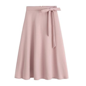 2017 Summer Women Elegant A Line Flared Skirt Hight Waist Office Skirt Pink Midi Skirt Saia Feminina