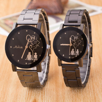 Hot Sale Watch Couple Glass Black Stainless Steel Band Balloon [4923237060]
