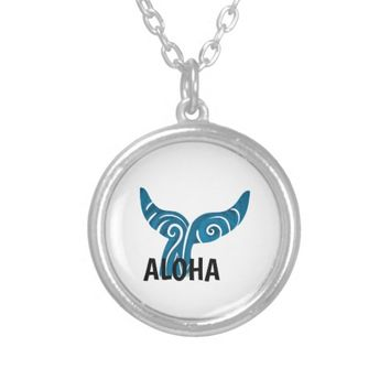 Aqua Blue TRIBAL WHALES TAIL Silver Plated Necklace